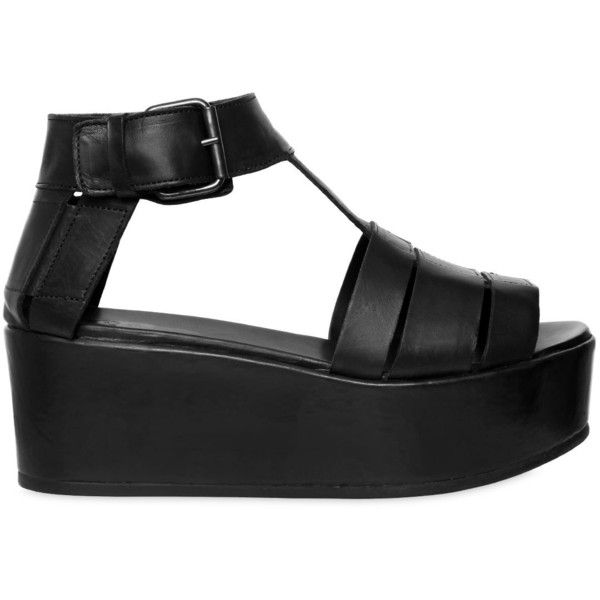 Marsell Women 60mm Soft Leather Wedges (£705) ❤ liked on Polyvore featuring shoes, black, genuine leather shoes, wedge heel shoes, black mid heel shoes, rubber sole shoes and mid-heel shoes