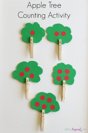 Apple Tree Counting Activity with Clothespins