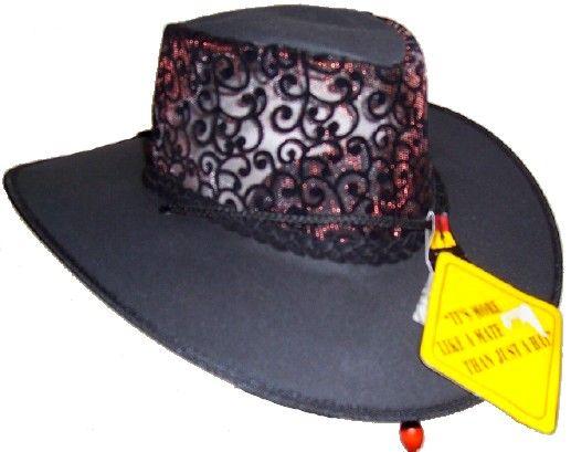 Schwarz mit silber o. rot Spitze eleganter Damenhut S,M,L,XL,XXL