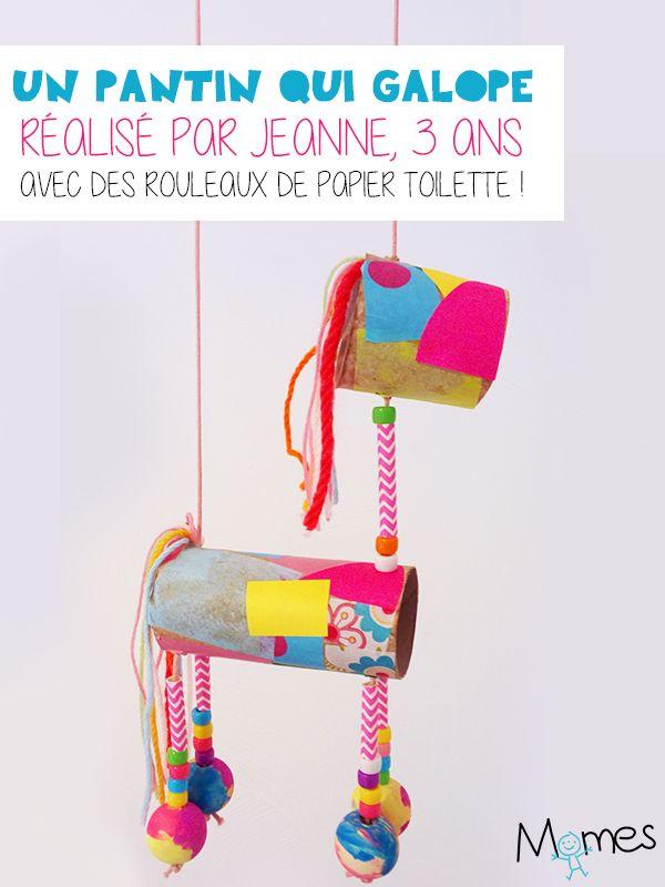 Voilà un bricolage presque entièrement réalisé par la petite Jeanne, 3ans qui a imaginé cette drôle de marionnette qui galope, à partir de rouleaux de papier toilette, ficelle et perles ! Une sorte de cheval coloré tout droit sorti de son imagination et avec lequel elle peut chevaucher toute la maison pendant des heures !