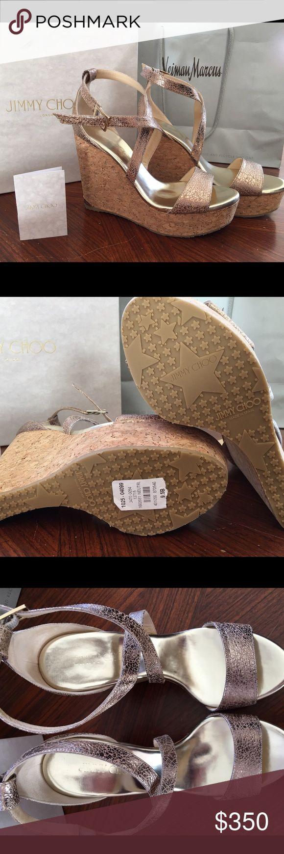 Jimmy choo Portia metallic wedge. Brand new. Jimmy choo Portia metallic wedge size 39 1/2. Retail $525. Brand new. Jimmy Choo Shoes Wedges