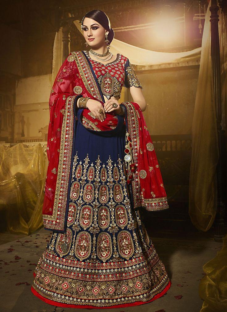 Buy Demure Georgette Navy Blue A Line Lehenga Choli #weddinglehenga #bridallehenga #weddingfashion #occaison #fashion #marriageseason #weddingplanner #fashionable #glamor #glamorous #traditional #traditionalfashion