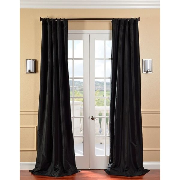 Exclusive Fabrics Solid Faux Silk Taffeta Jet Black Curtain Panel | Overstock.com Shopping - The Best Deals on Curtains