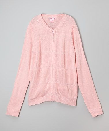 Another great find on #zulily! Light Pink Zip-Up Cardigan - Girls #zulilyfinds