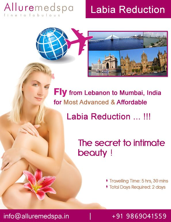 Labia reduction surgery is procedure to Sculpt the External Vaginal Structures by Reducing and/or Reshaping long or uneven labia  by Celebrity Labia reduction  surgeon Dr. Milan Doshi. Fly to India for Labia reduction surgery (also known as Labiaplasty) at affordable price/cost compare to Beirut, Tripoli, Djounie,LEBANON at Alluremedspa, Mumbai, India.   For more info- http://Alluremedspa-lebanon.com/cosmetic-surgery/gynaecology/labia-reduction.html