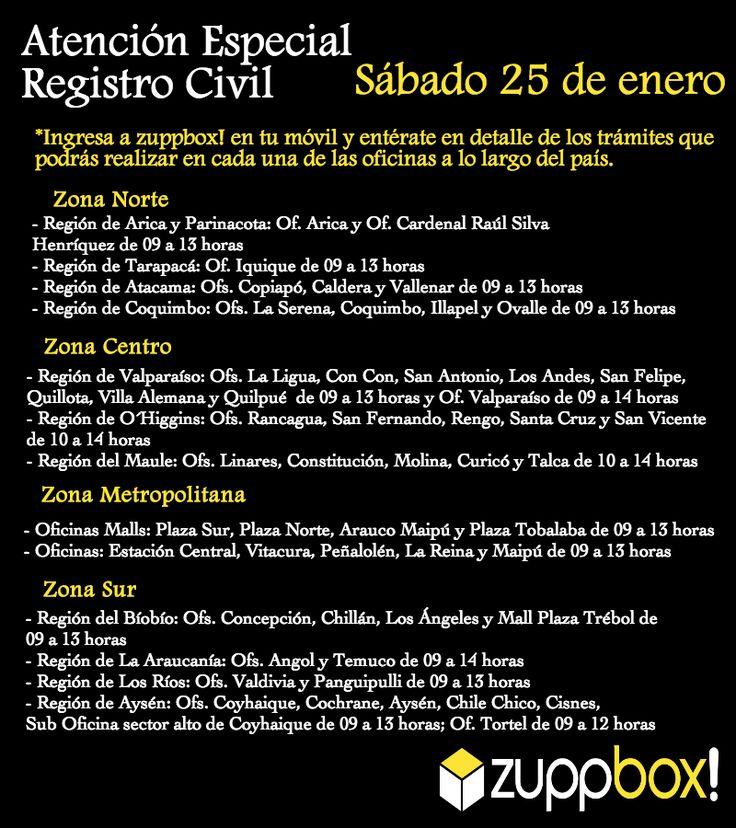 Atención especial del Registro Civil - Sábado 25 de enero