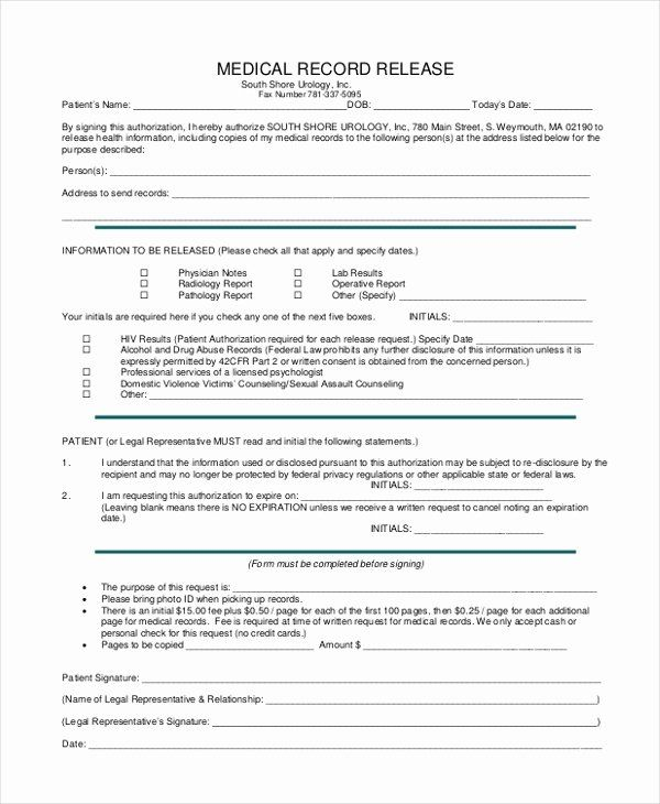 40 Free Printable Medical Release Form In 2020 Medical Records