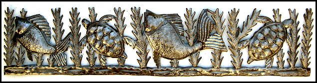 "HAITI METAL ART ...  Special Sale – 10% discount View our huge selection of hand cut, recycled steel drum metal art. Click to view all ....  https://www.etsy.com/shop/HaitiMetalArt  Metal Wall Hanging, Fish and Turtles, Outdoor Metal Wall Art , Recycled Steel Drum, Metal Art, Haitian Art, Metal Decor, 8"" x 34"" - JJ624 by HaitiMetalArt on Etsy"