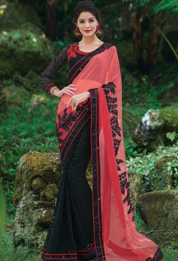 Black Jacquard, Georgette Embroidered Saree 9185