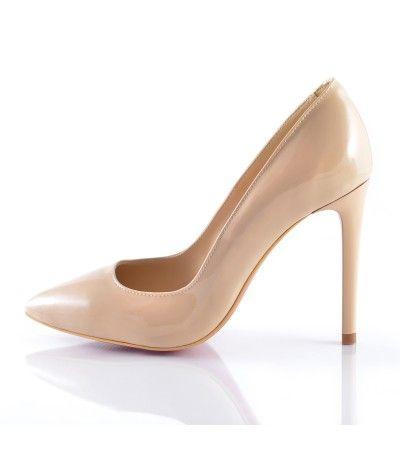 Pantofi stiletto lac nude