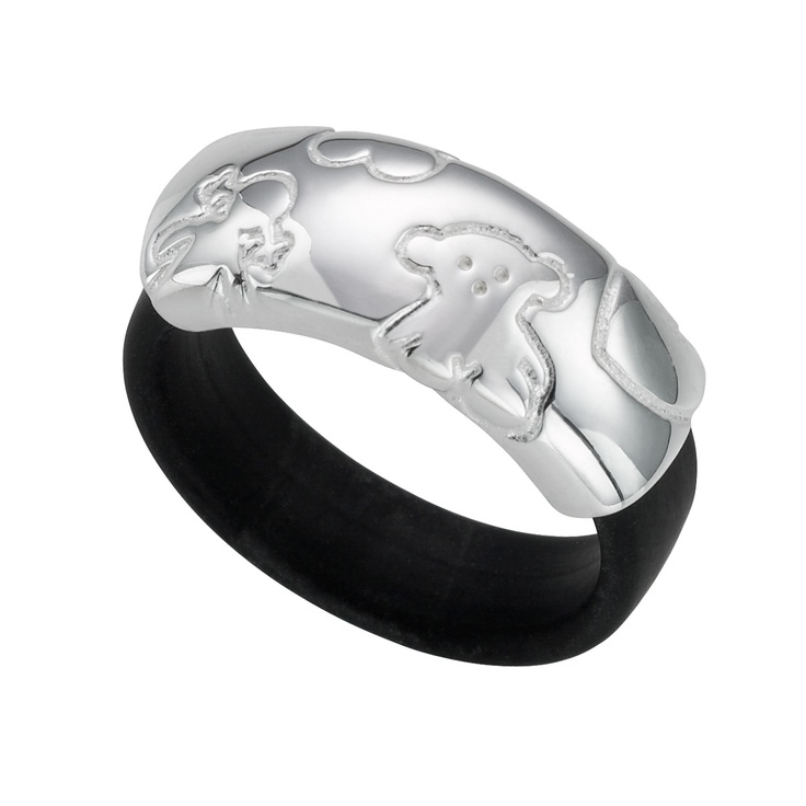 Sterling silver and rubber TOUS TS ring TOUS Washington DC