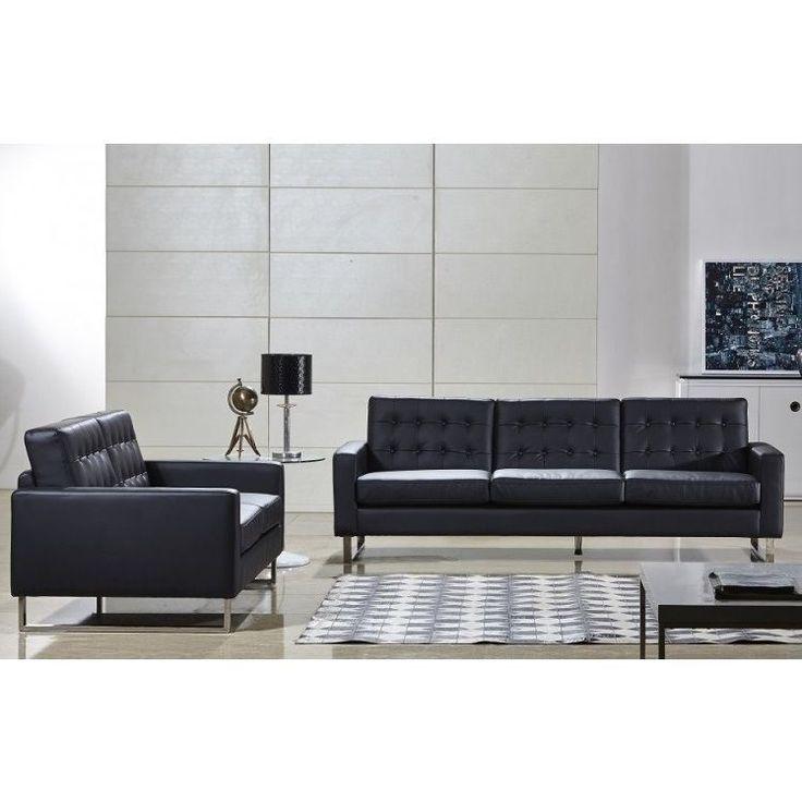 black leather living room furniture sets%0A US Pride Furniture Angela Black Faux Leather Modern Sofa and Loveseat Set