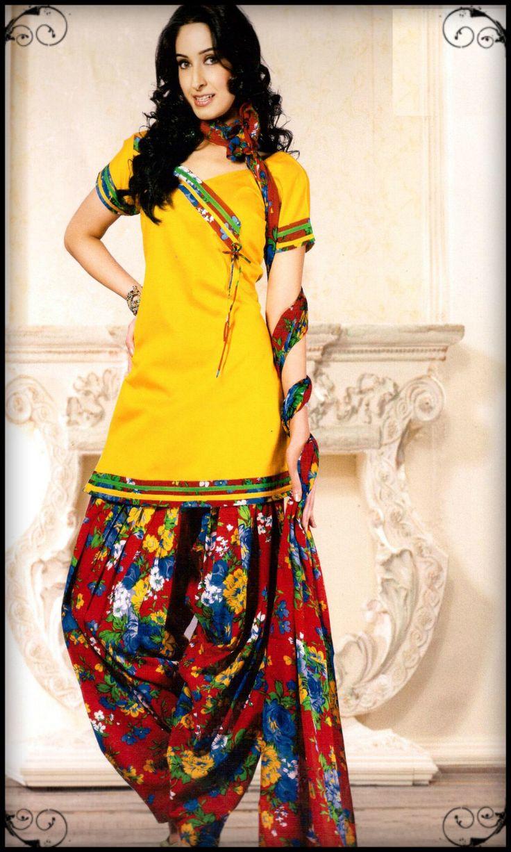 Sunshine Yellow Side Cut Cotton Silk Printed Patiala Suit