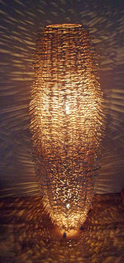 "Unusual Hand Made "" Birds Nest "" Lamp Twisted Natural Rattan Floor Lamp 150cm"