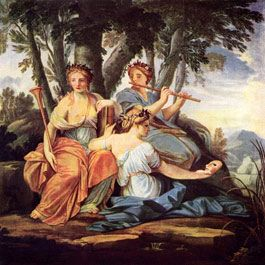 In Greek mythology, the nine daughters of Zeus and Mnemosyne presided over the arts and sciences as the sources of inspiration. Euterpe (center) is the Muse of lyric poetry, while Thalia (right) is the Muse of light verse