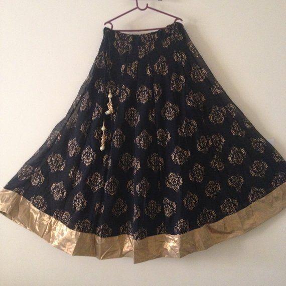 BB Black Skirt Indian long gypsy boho skirt, bollywood skirt, belly dance maxi skirt, traditional bohemian skirt, Boho skirt clothings