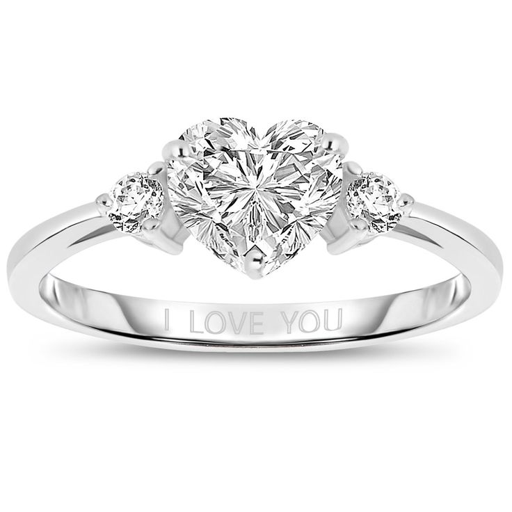 This sterling silver 'I LOVE YOU' ring features a dazzling heart-shape Cubic Zirconia stone, enhanced with two round stones. They're sure to attract attention no matter what you wear them with. 17.99