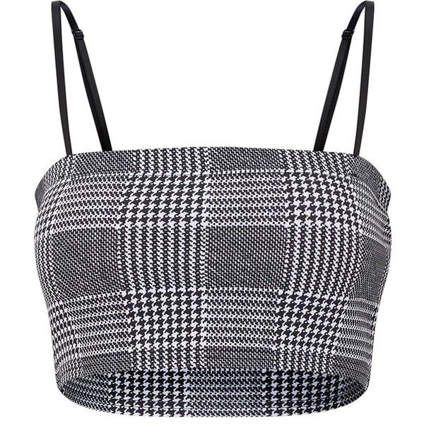 Black Check Printed Square Neck Cami Crop Top (19 NZD) ❤ liked on Polyvore featuring tops, crop tops, shirts, shirt top, checkered crop top, square neck top, checkered shirt and cropped camisole