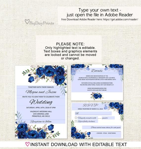 Blue Wedding Invitation Template Royal Blue Wedding Invitation Boho Chic Wedding Invitation Suite Floral Wedding Set A016c Editable Pdf Blue Wedding Invitations Wedding Invitation Templates Navy Wedding Invitations