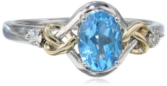 Love Knot Sterling Silver and 14k Yellow Gold  Swiss Blue Topaz  and Diamond Ring,: