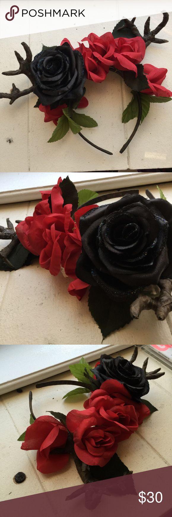 Rose Deer Flower Crown Handmade by me! Includes deer antlers! cocochampange Accessories Hair Accessories