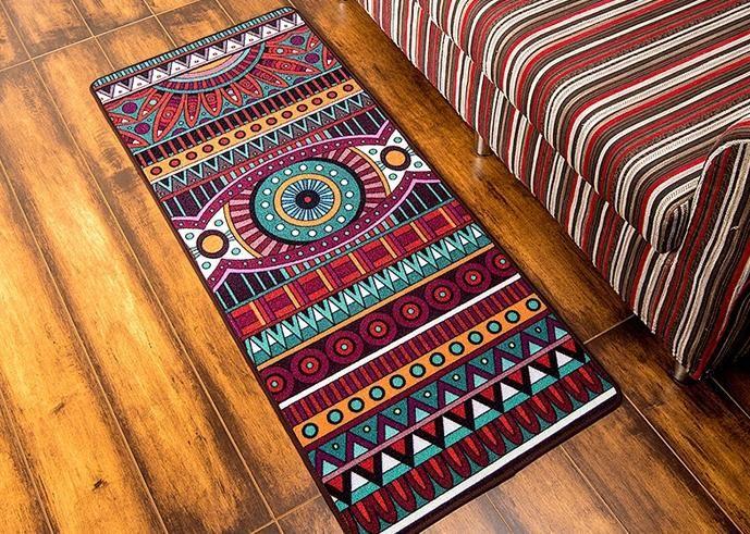 Ethnic Style Nylon Carpet, Floor Carpet And Rugs, Door Mat, Bedroom Bedside  Strip