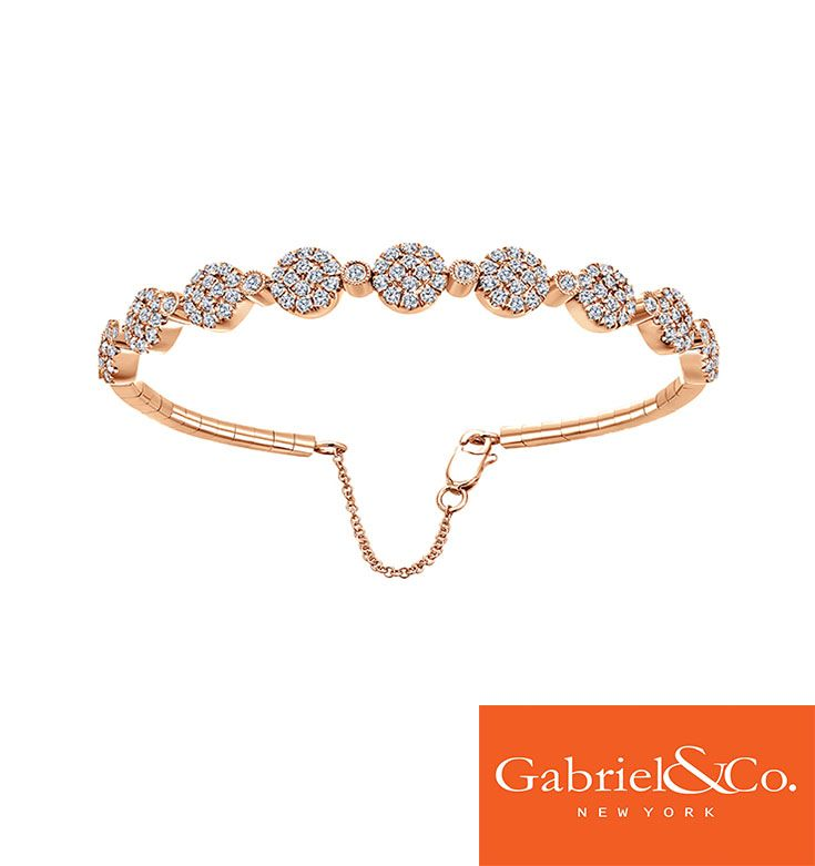 This stunning 14k Pink Gold Diamond Bangle by Gabriel and Co. is an absolute favorite. It goes great with any attire.