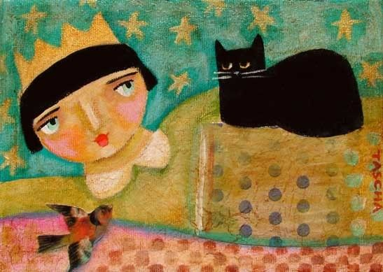 QUEENIE WITH KITTIE collage painting 5x7 PRINT by tascha on Etsy