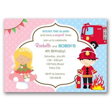 8 best joint birthday party invitation images on pinterest fairy and fireman firefighter joint birthday party invitation filmwisefo
