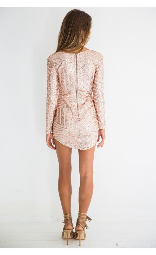 Vegas Dress Rose Gold - Dresses - Clothing