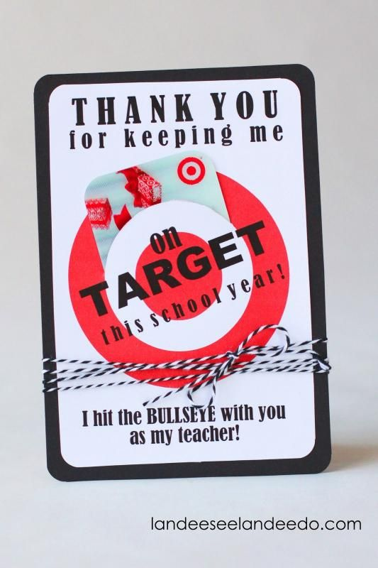Free printable Target gift card holder for an end-of-year teacher gift from the class
