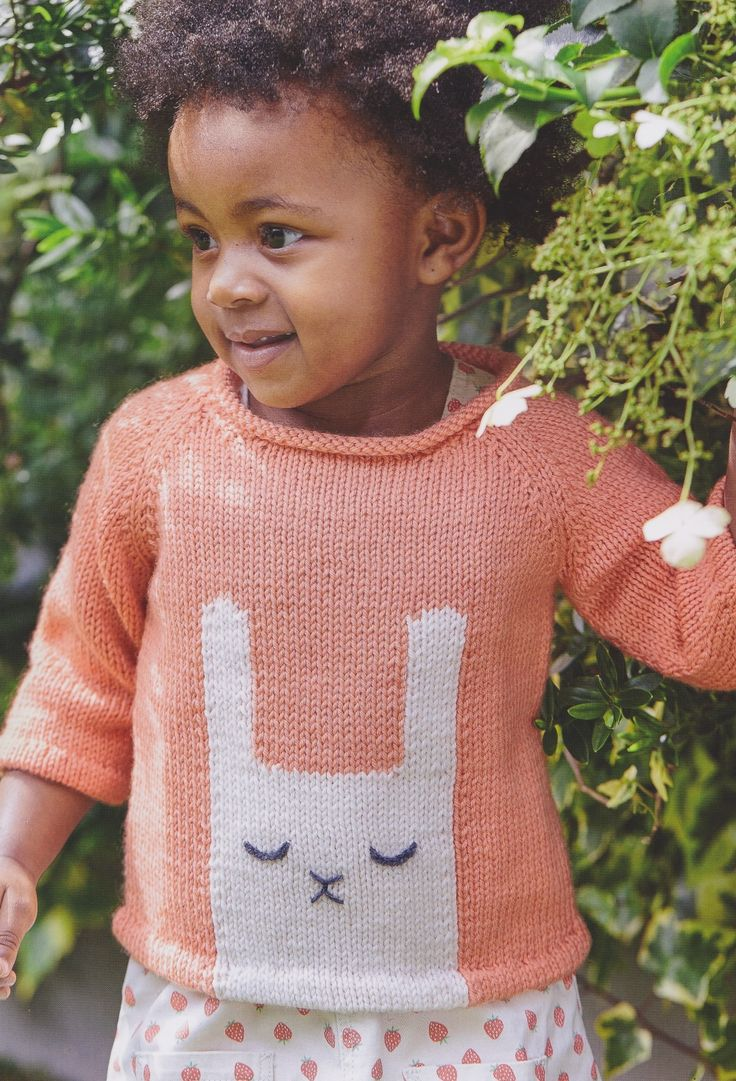 Knitted rabbit jumper for toddlers from my book, Knitted Animal Nursery, 2017