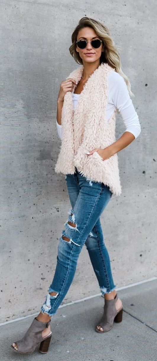 #fall #outfits white long-sleeved shirt
