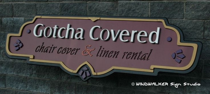 Main part of a 3 part sign, using metallic water based paints, carved from Extira.    Created by Windwalker Sign Studio