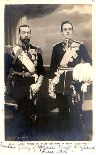 King George V of Great Britain and King Alfonso XIII of Spain c1905