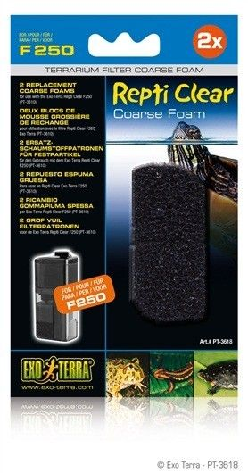 Foamex Grueso Repti Clear EXOTERRA 2 REPUESTO ESPUMA GRUESA para Repti Clear F250 (PT3610) filtro para terrarios.