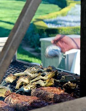 Grilled Artichokes with Spicy Smoked Tomato Mayonnaise