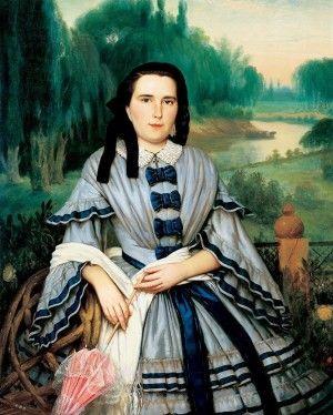 PRILIDIANO PUEYRREDÓN (1823 - 1870) Retrato de Elvira Lavalleja de Calzadilla, 1859 Óleo sobre tela, 125,5 x 100,5 cm Museo Nacional de Bellas Artes, Buenos Aires