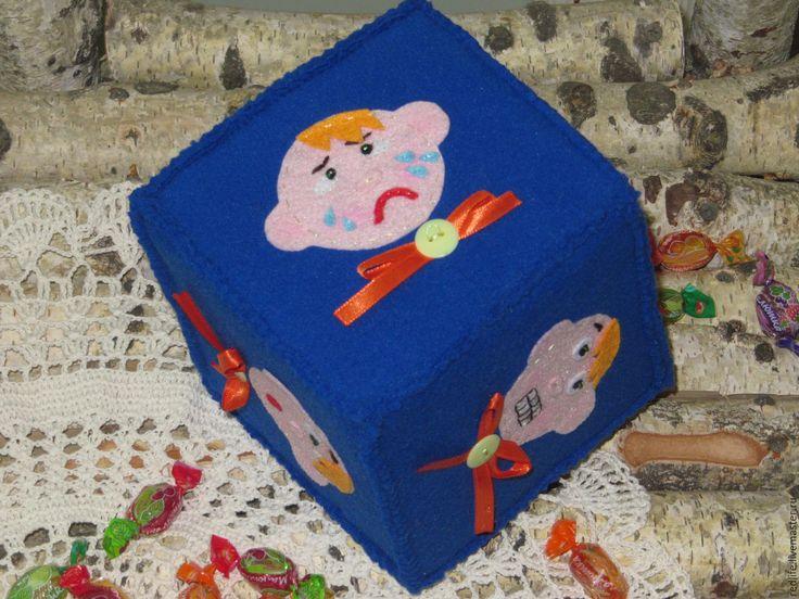 Купить Развивающий кубик (игрушка, погремушка из фетра) Эмоции. - развивающая…