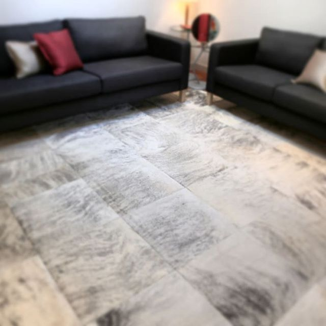 Big Square Pattern Of This Beautiful Cowhide Patchwork Rug In Various Tones Of One Of A Kind Grey Hides Wil Patchwork Cowhide Rug Patchwork Rugs Rugs Australia