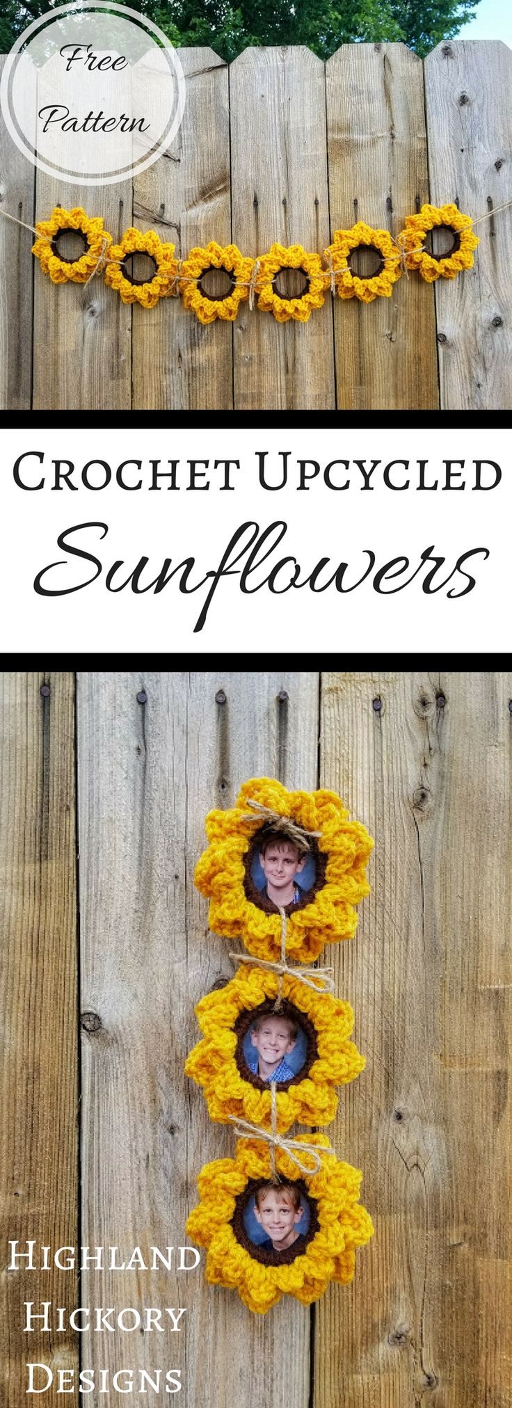 Crochet sunflowers free pattern | crochet garland sunflowers