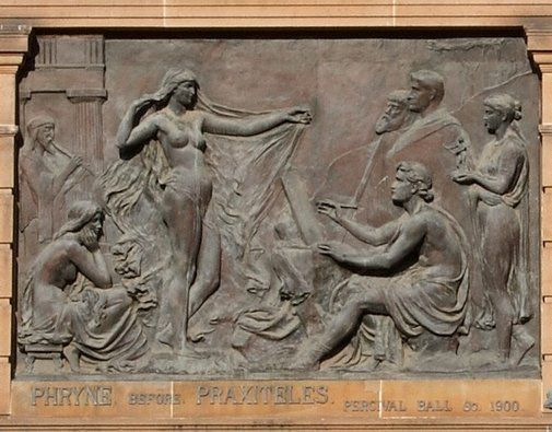 Phryne before Praxiteles 1900  by Percival Ball England, Australia ( 17 Feb 1845 - 04 Apr 1900) unveiled 27 Mar 1903 after his death