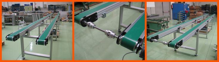 Cinta transportadora de banda doble MiniTec para empresa de cristales en el sector de  automoción.