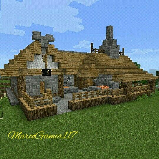 #cabaña de con #chimenea ** log #cabin with #fireplace #Minecraft #Minecraftpe #Gamer #builder #Games #Mcpe #Minecraftpc #MCPECrea