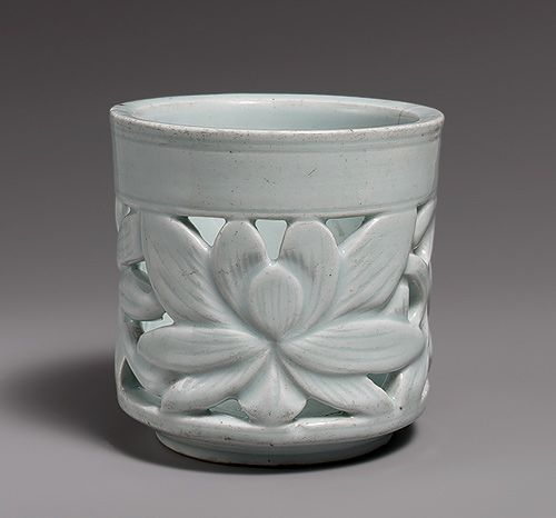 Brush holder, Joseon dynasty (1392–1910), late 18th–19th century Korea Porcelain with openwork design of lotus flowers; 5 1/4 x 5 1/4 in. (13.3 x 13.3 cm)