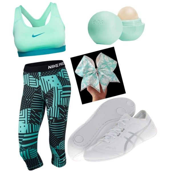 Straight outta cheer practice by fstarchia on Polyvore featuring polyvore, beauty, Eos, NIKE and Asics