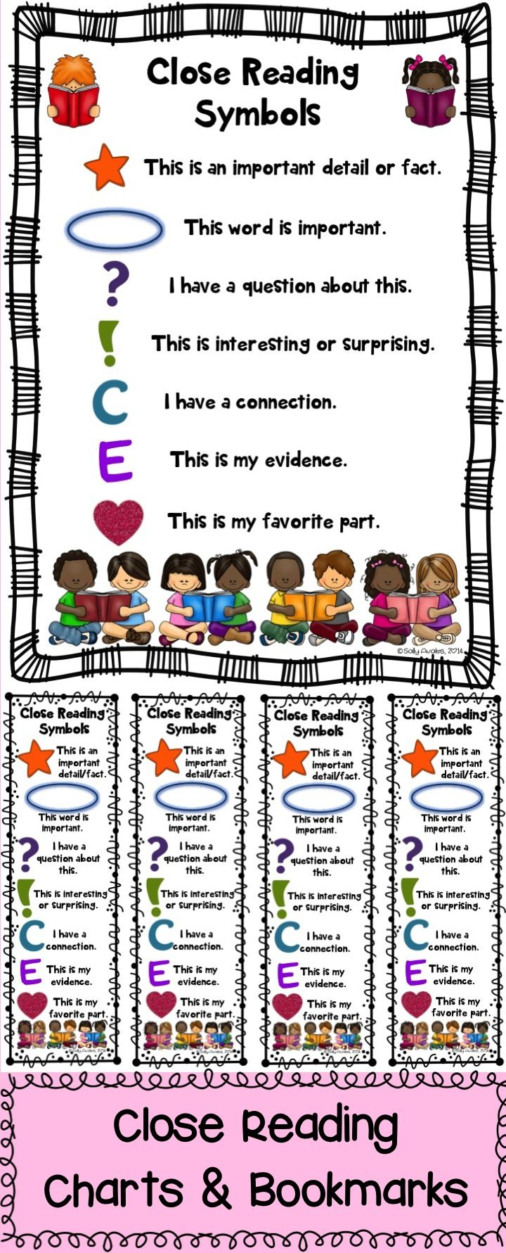 Close Reading Symbols Posters & Bookmarks, Any Topic, First Week Of School