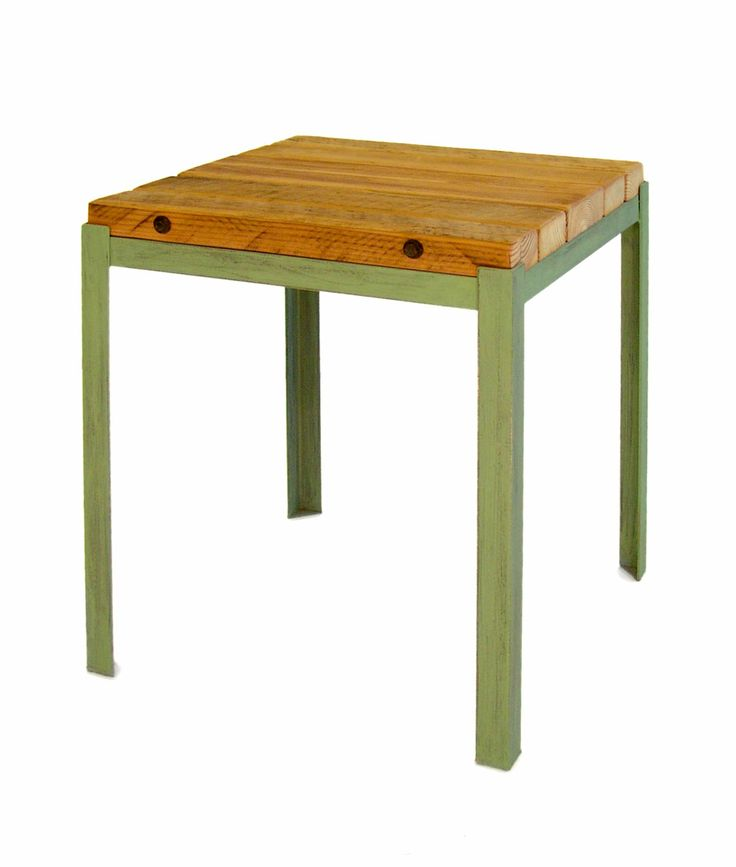 handmade in georgia from reclaimed barn wood and handcut steel this end table features retro colors that accent the rugged wood for a rustic look