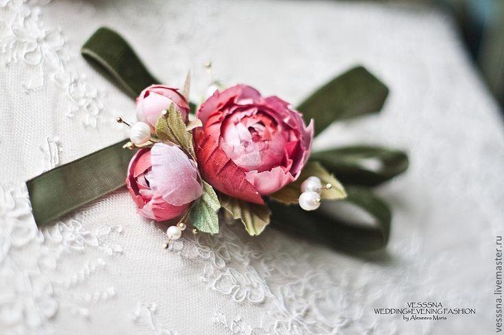"""Купить Браслеты для подружек невесты """"Вишневая романтика"""". Цветы из шелка. - розовый, браслеты, для подружек невесты"""