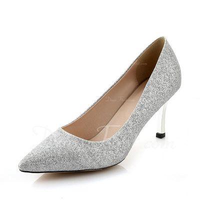 Pailletes scintillantes Talon stiletto Escarpins Bout fermé chaussures (085068471)